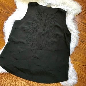H&M sleeveless black embroidered top